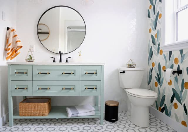 Before and After DIY Floral Weekend Bathroom Makeover featured by top DIY blog, Fynes Designs:  Modern tiled bathroom with accent wall