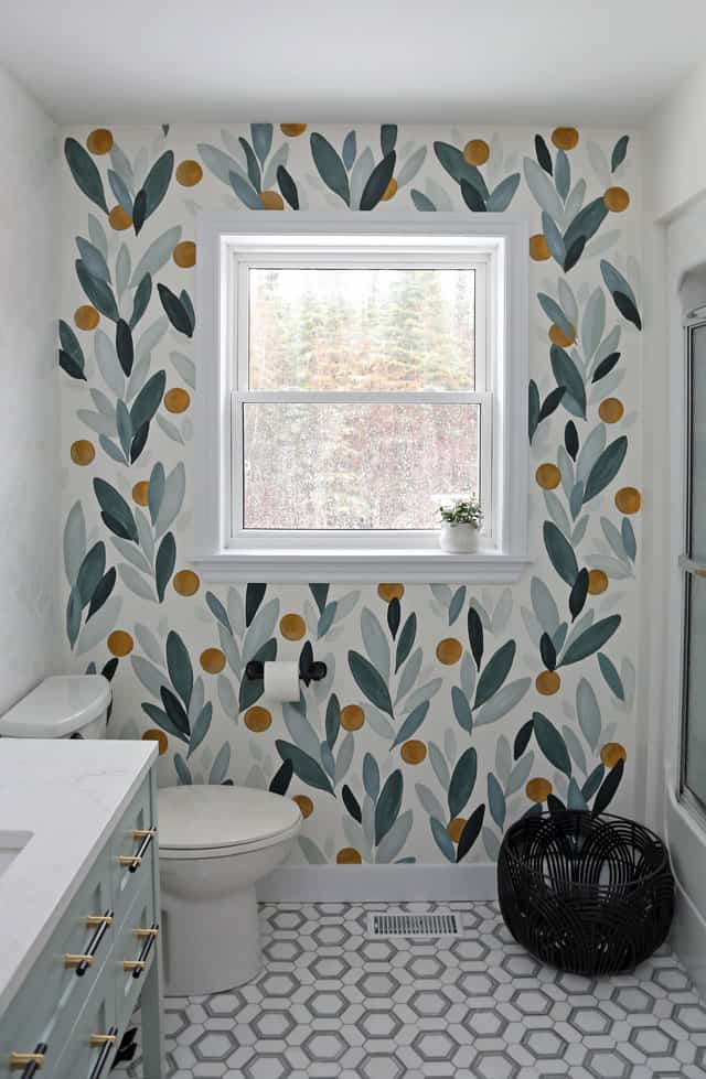 Colourful Bathroom Makeover Ideas: Before and After Pictures featured by top US design blog, Fynes Designs: Hand Painted Accent wall in the bathroom