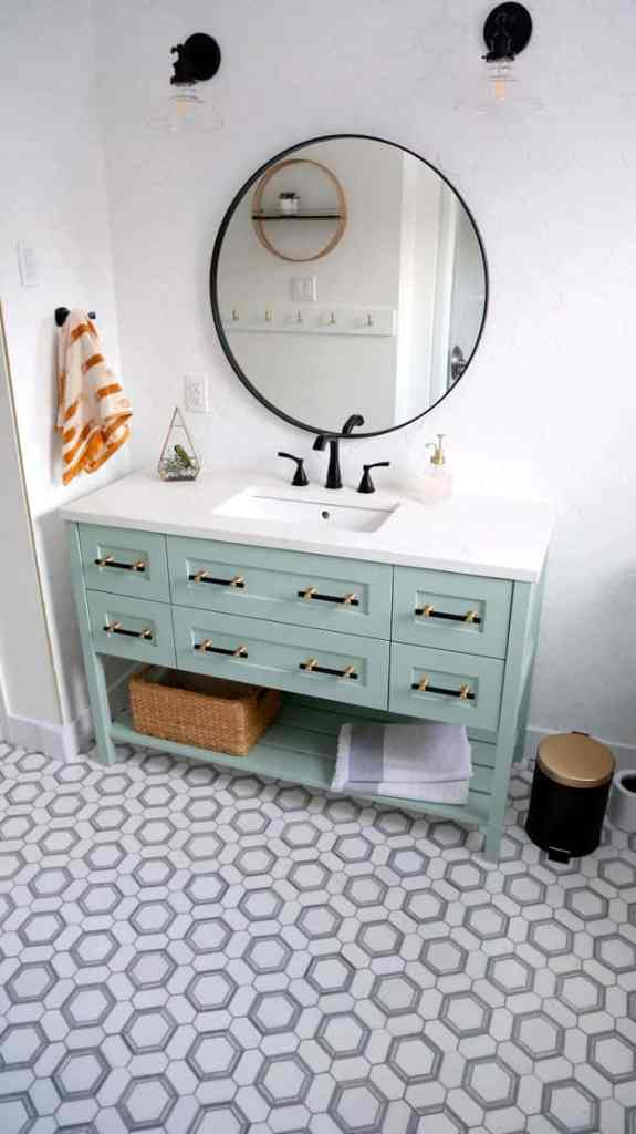 Colourful Bathroom Makeover Ideas: Before and After Pictures featured by top US design blog, Fynes Designs: Jeffery Court Locket Mosaic tile bathroom floor
