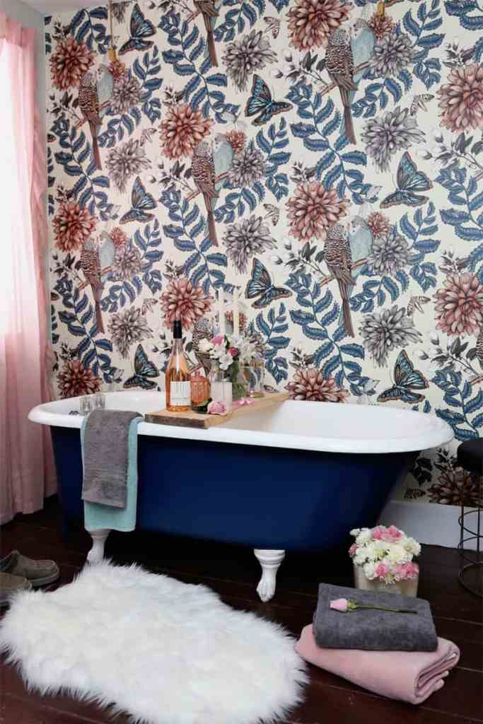 Before and After DIY Floral Weekend Bathroom Makeover featured by top DIY blog, Fynes Designs.