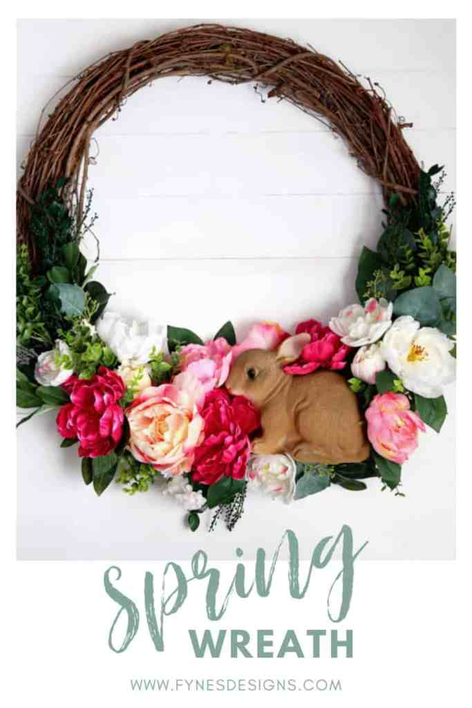 Spring bunny wreath for your front door | Easy Spring Wreath Idea by popular interior design blog, Fynes Designs: image of a DIY bunny rabbit and floral wreath.