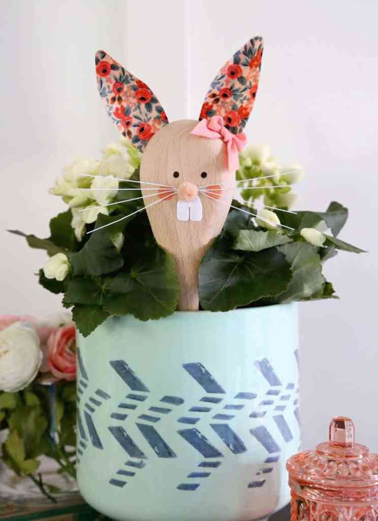Easter Bunny Crafts: How to Make a Cute Wooden Spoon Easter Bunny, a tutorial featured by top craft blog, Fynes Designs: Easter Bunny wooden spoon craft | Easter Bunny Crafts by popular interior design blog, Fynes Designs: image of wooden spoon Easter Bunny craft.