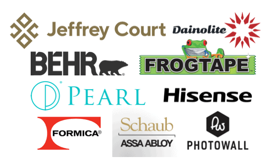 brand sponsors Jeffrey Court All Star Renovation Challenge | Jeffrey Court by popular US life and style blog, Fynes Designs: collage image of various home design brands.