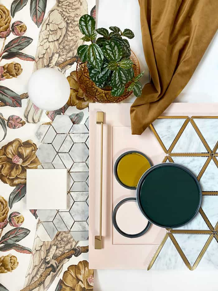 Modern Palm Beach inspired Mood Board | Jeffrey Court by popular US life and style blog, Fynes Designs: image of a modern Palm Beach mood board.