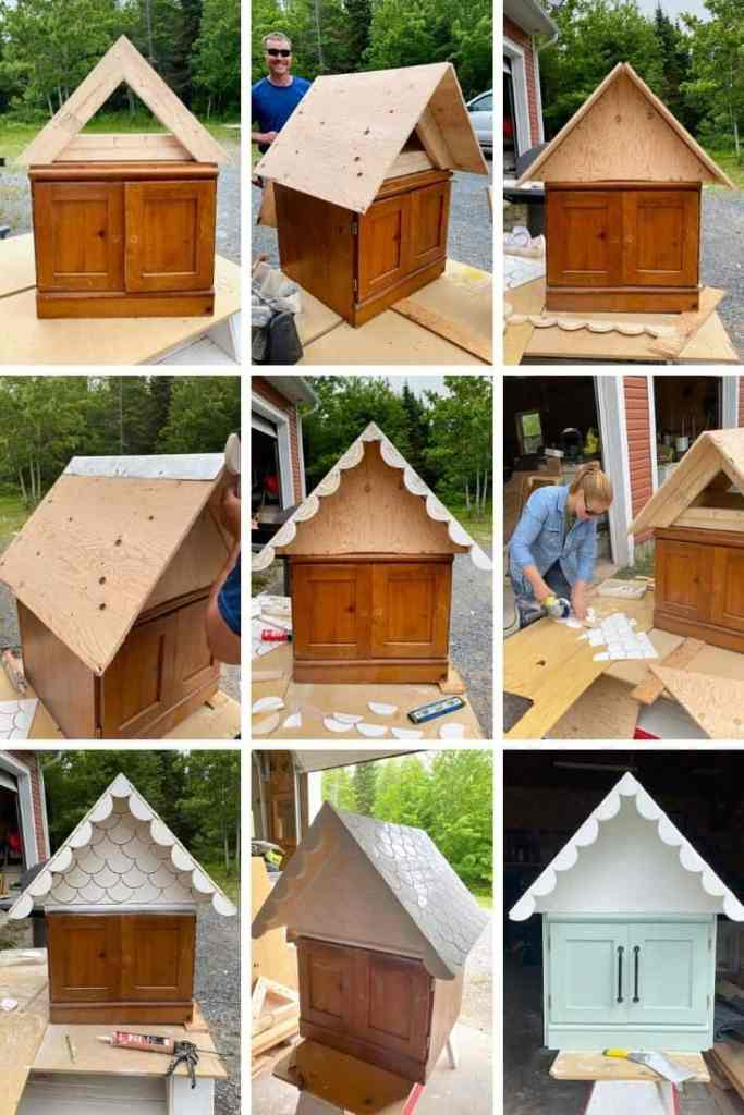 Little Free Library Plans by popular US DIY blog, Fynes Designs: collage image of the step-by-step process on how to make a free little library.