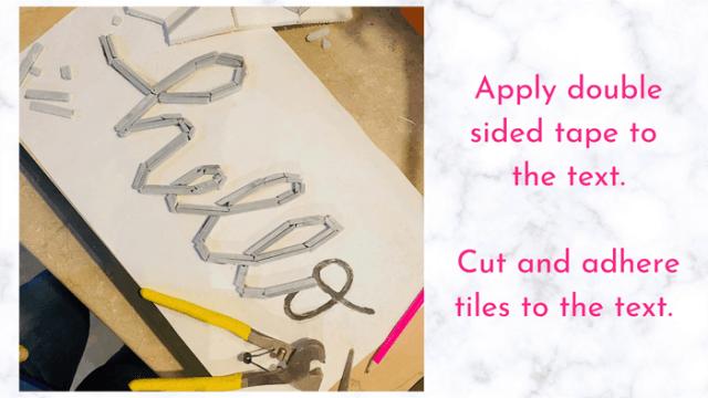 fill in letters with tile | Tile Lettering by popular US interior design blog, Fynes Designs: image of tile lettering getting pieced together.