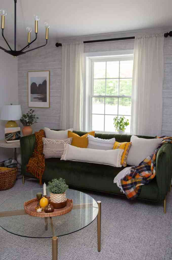 IKEA hacks: Easy to make boho pillows. No sewing required!    Boho Pillows by popular Canada DIY blog, Fynes Designs: image of various boho pillows on a green velvet couch.