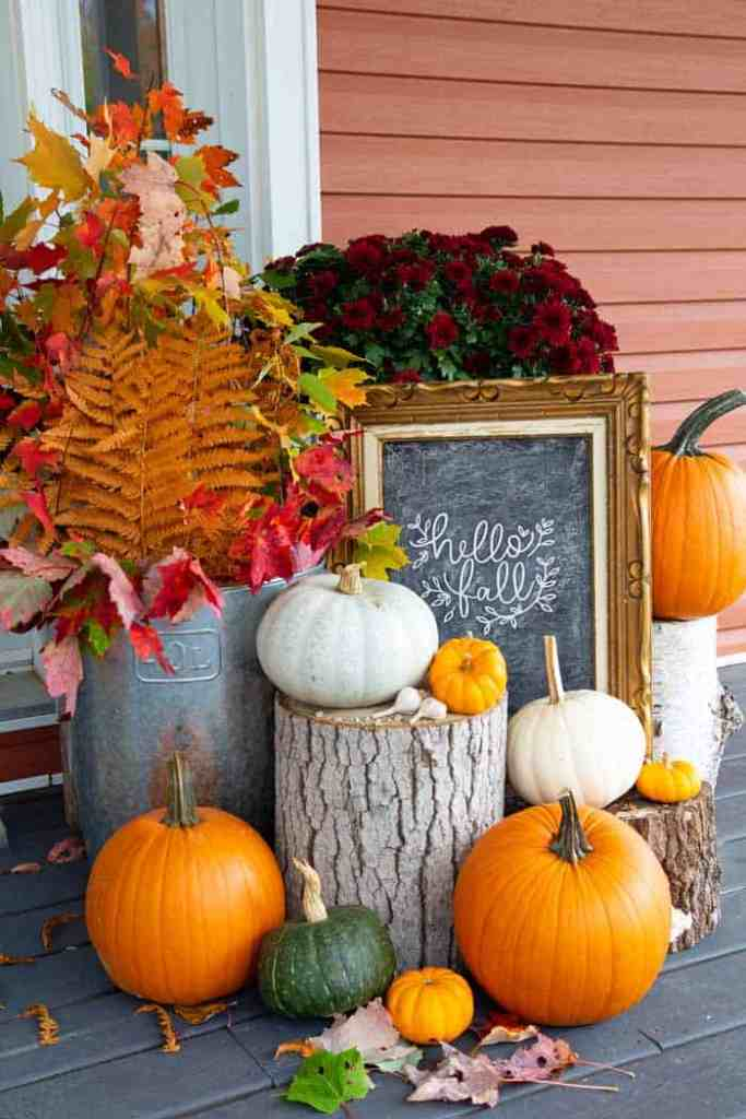 Hello Fall sign on a fall front porch |Fabric Pumpkins by popular Canada craft blog, Fynes Designs: image of a front porch decorated with orange and white pumpkins, tree stumps, red mums, and fall leaves in a a tin bucket.
