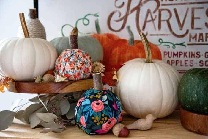 Fall pumpkin decor- No-sew fabric pumpkins |Fabric Pumpkins by popular Canada craft blog, Fynes Designs: image of various no-sew fabric pumpkins.