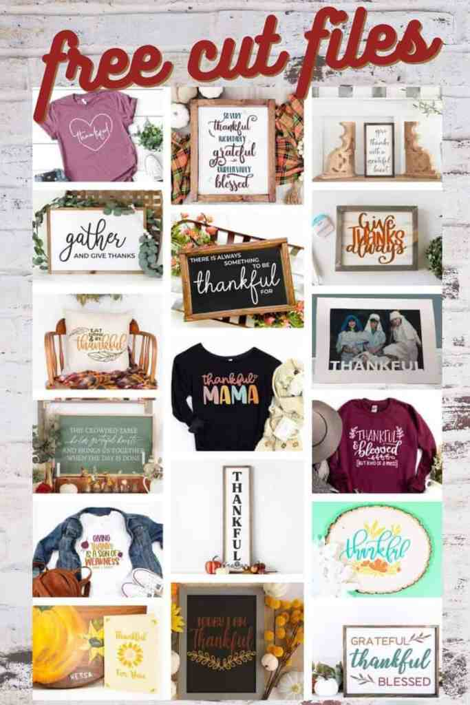 Over 15 FREE Thanksgiving cut files |Thanksgiving decor by popular Canada interior design blog: collage image of free cut files.