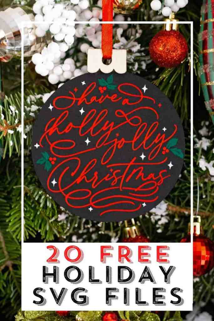 20 Free Holiday SVG files perfect for Silhouette or Cricut |SVG Files by popular Canada DIY blog, Fynes Designs: Pinterest image of a black and red Christmas ornament.