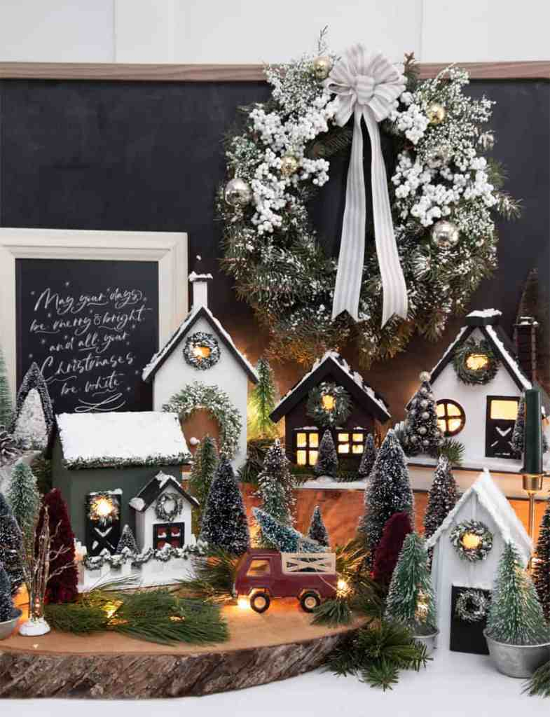 How to make a farmhouse inspired birdhouse Christmas Village |Colorful Christmas Decorations by popular Canada Interior Design blog, Fynes Designs: image of a birdhouse Christmas village.