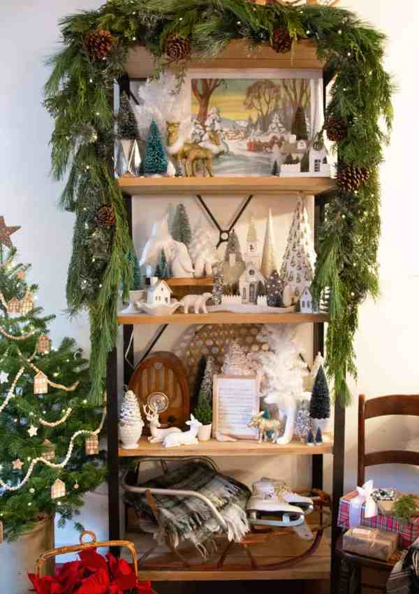 How to Hang Garland on a Shelf for a Christmas Vignette
