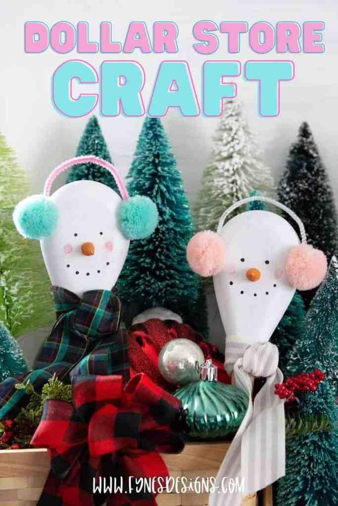 Kids Christmas Crafts: Wooden spoon Snowman from a dollar store wooden craft |Kids Christmas Crafts by popular Canada DIY blog, Fynes Designs: image of a snowman wooden spoon craft.