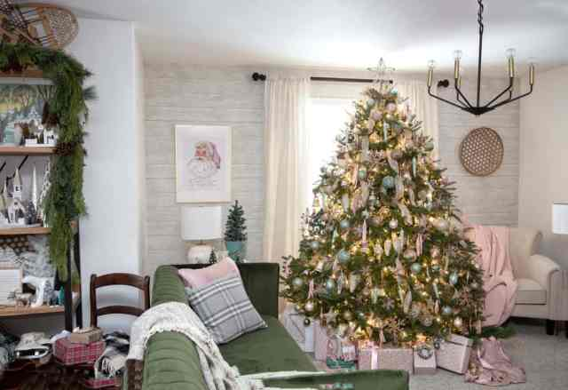 Decorating ideas for a real Christmas tree | Colorful Christmas Decorations by popular Canada Interior Design blog, Fynes Designs: image of a pink and mint green Christmas tree.