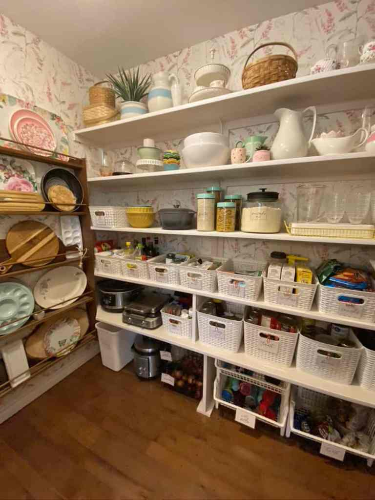 How to practically organize your walk-in pantry |Pantry Organization Tips by popular Canada interior design blog, Fynes Designs: image of an organized walk-in pantry.