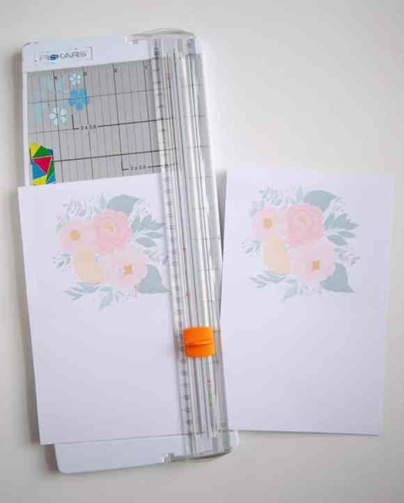 FREE Printable Floral Greeting Card. Print, cut and send a beautiful greeting to a friend! |Printable Floral Card by popular Phoenix lifestyle blog, Love and Specs: image of a free printable floral greeting card on a paper cutter.