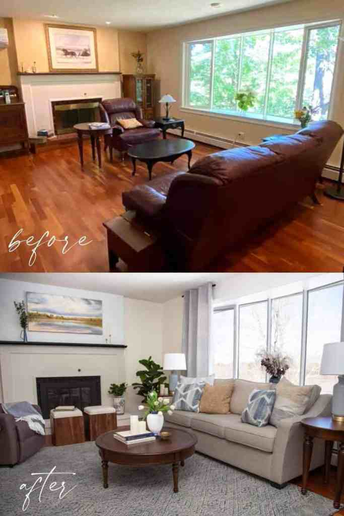 Dated 1990s Living room makeover turned into a stunning coast inspired farmhouse family room |Living Room Makeover by popular Canada life and style blog, Fynes Designs: before and after image of a living room makeover.