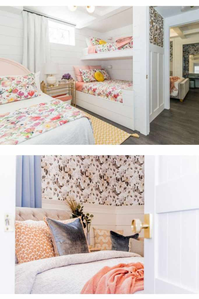 Basement Bunk Room Ideas to create a fun airbnb from Fynes Designs |  Bunk Room Ideas by popular Canada home design blog, Fynes Designs: image of a basement bunk room with white shiplap wall, mid century modern chandelier, bunk beds with floral bedding, white drapes, queen bed with a pink headboard and white and floral bedding, yellow and white checked runner rug and a gold metal and glass top side table with a white basket filled with blankets resting underneath.