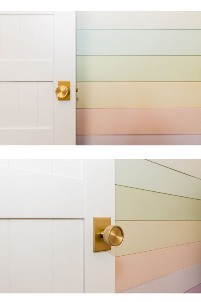 Basement Bunk Room Ideas to create a fun airbnb from Fynes Designs |  Bunk Room Ideas by popular Canada home design blog, Fynes Designs: image of a rainbow shiplap wall.