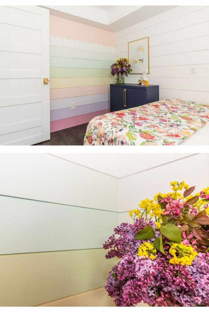 Rainbow painted Shiplap wall in a basement airbnb bunk room from Fynes Designs |  Bunk Room Ideas by popular Canada home design blog, Fynes Designs: image of a rainbow shiplap wall.