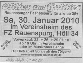 Wochenblatt, 21.01.2010 Anzeige zu unserem Oldieball