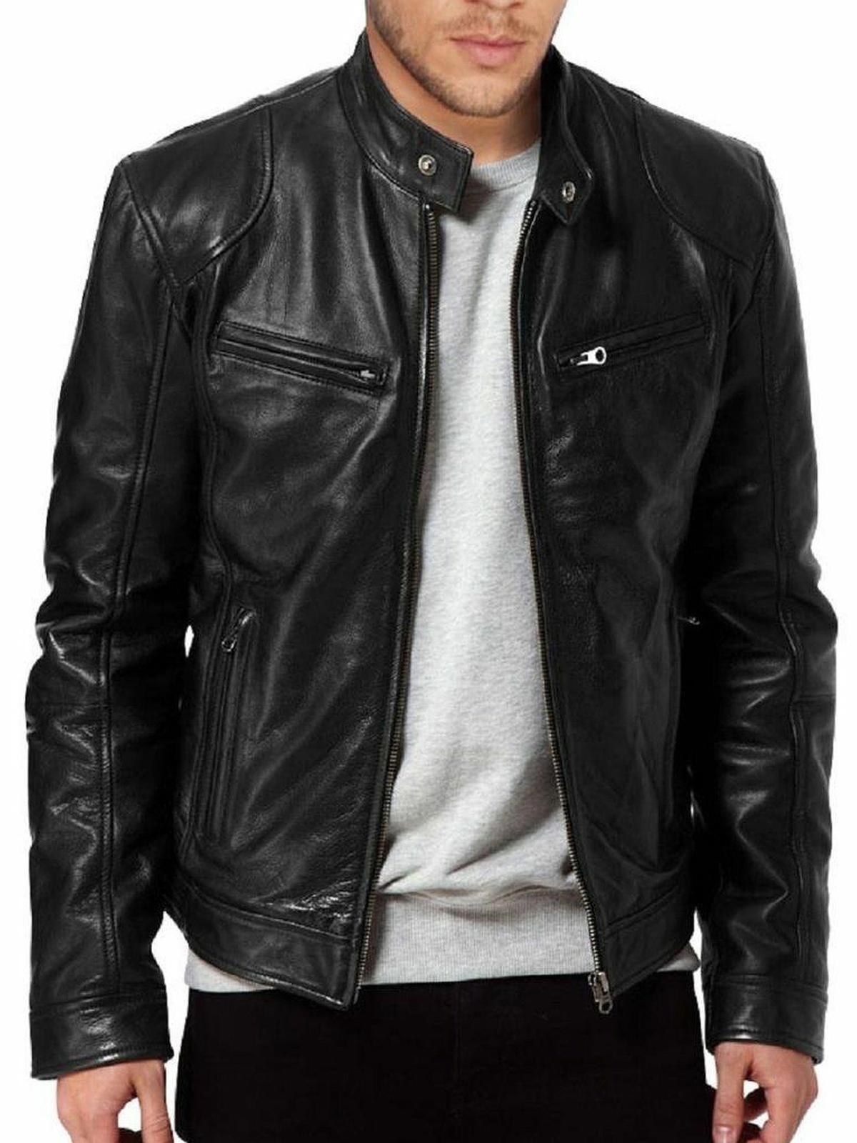 Mens SWORD Black Leather Biker Retro Jacket