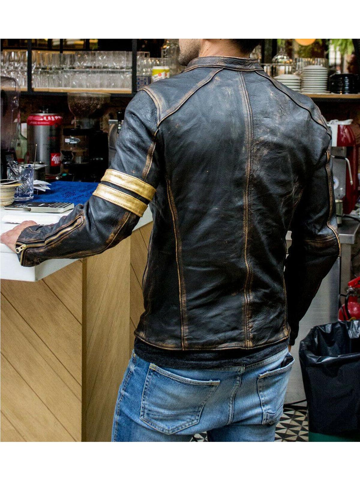 Men's Motorcycle Vintage Cafe Racer Distressed Leather Jacket
