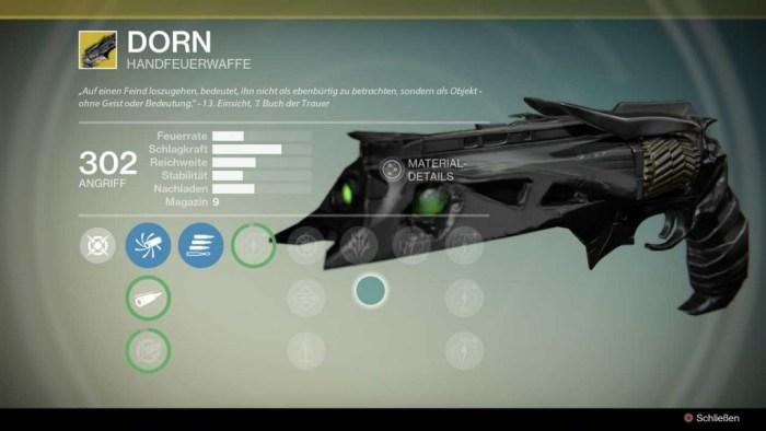Handfeuerwaffe Dorn, Bild: Screenshot Destiny