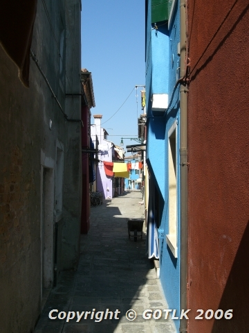 Old town alley with washing hung out