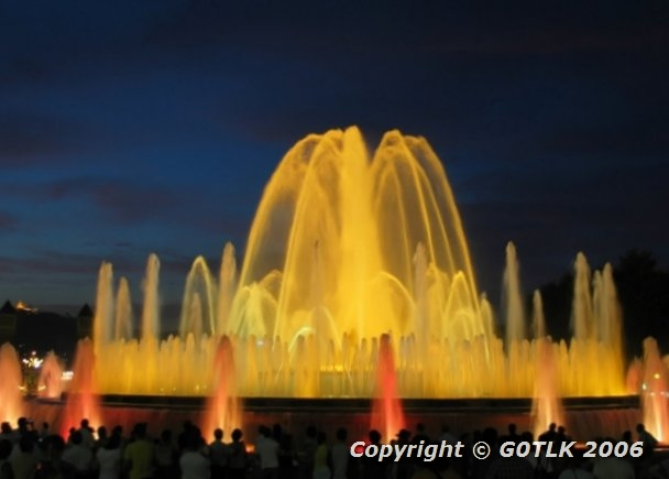 Barcelona fountains lit yellow