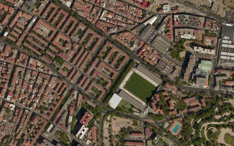Imagen aérea del Estadio de Vallecas