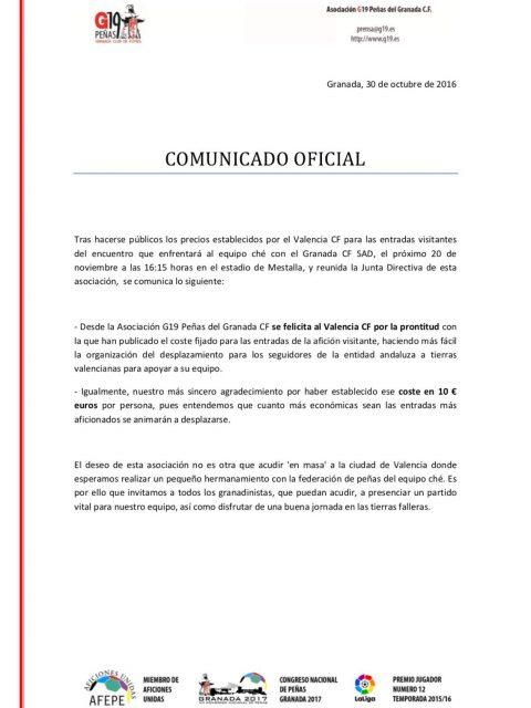 Comunicado agradecimiento al Valencia CF. Imagen: G19