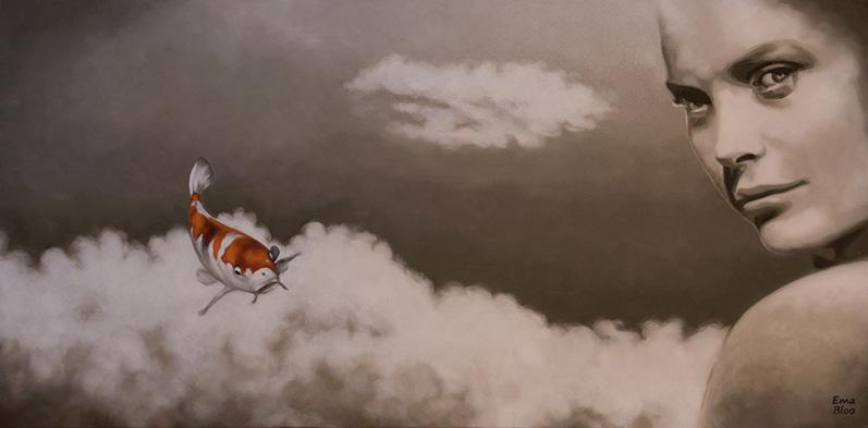 """PRIX DE LA CREATIVITE Offert par le GAB Ema BLOO pour le n° 119 """"Petit poisson volant a mordu la lune"""""""