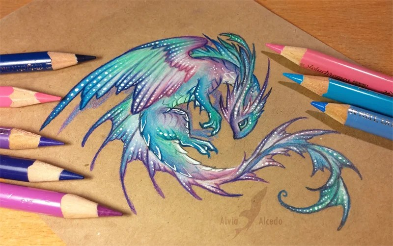 Beautiful Dragon Artwork Drawn Only With Colored Pencils Gabbing Geek