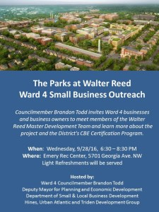 Come Learn about Upcoming Business Opportunities at The Parks at Walter Reed