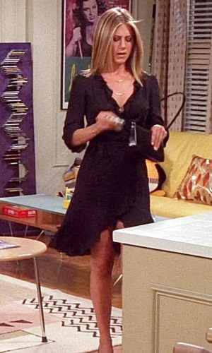 rachel green, jennifer aniston, friends, anos 90, looks, tendência, moda, estilo, trend, 90s, outfits, fashion, style, wrap dress, vestido wrap