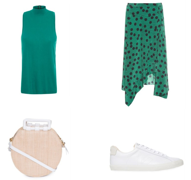saia de poá fundo verde, item da semana, moda, estilo, looks, tendência, inspiração, fashion, style, polka dot skirt, polka dots, trend, outfits, item of the week
