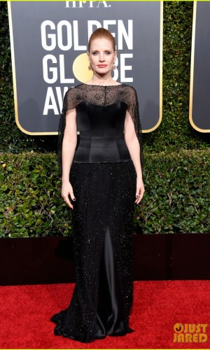 golden globes 2019, golden globes, awards season, red carpet, fashion, look, gown, tapete vermelho, premiação, moda, look, vestido longo, hollywood, jessica chastain