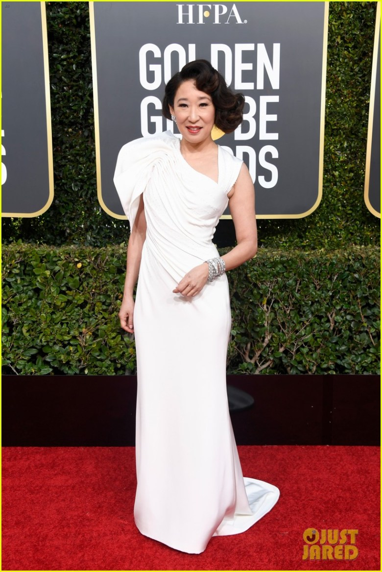 golden globes 2019, golden globes, awards season, red carpet, fashion, look, gown, tapete vermelho, premiação, moda, look, vestido longo, hollywood, sandra oh