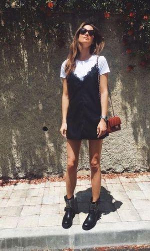 vestido e bota, combinação contrastante, look, tendência, look inverno, look outono, moda, estilo, fashion, style, trend, dress with boots