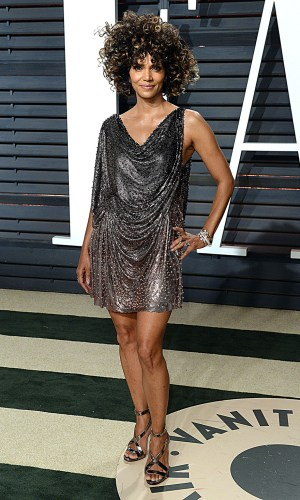 halle berry with a cowl neck dress, trend