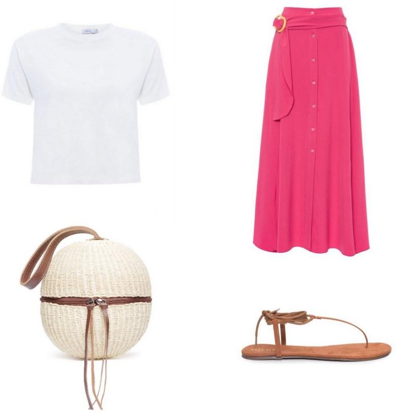 bolsa de palha, straw bag, pink midi skirt outfit