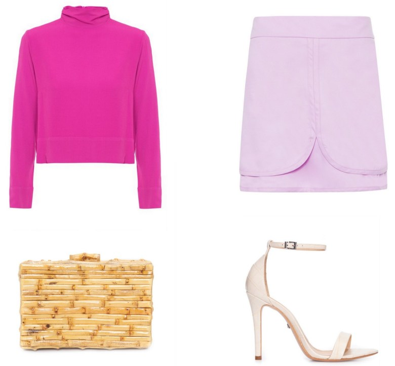 blusa básica rosa, um item e cinco looks, look festa saia lilás