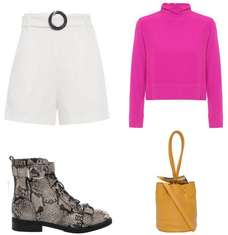 blusa básica rosa, um item e cinco looks, look casual bota estampa de cobra