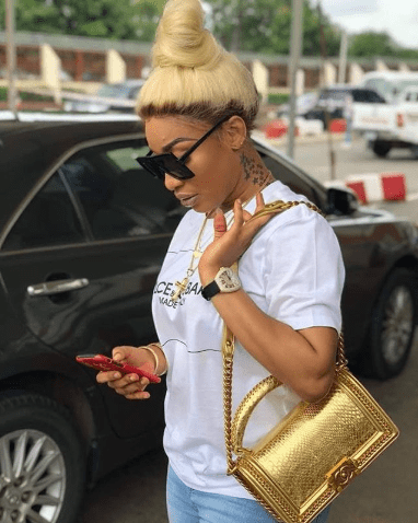 Tonto Dike with her Chanel Le Boy Bag