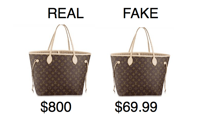 Real and fake louis vuitton bag