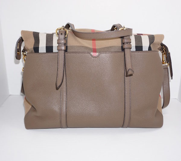 leather and canvass diaper bag