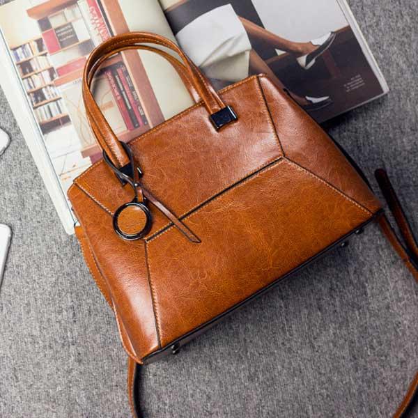 quality cowhide leather brown handbag (3)