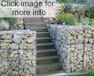 gabion retaining wall with concrete steps
